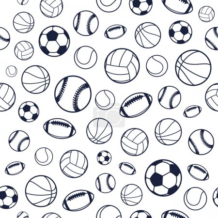 Illustration for Sports Balls Background, Seamless Pattern. Endless texture can be use for wallpaper, pattern fills, etc. - Royalty Free Image