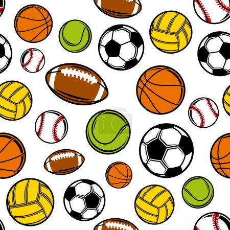 Vector Sports Balls Seamless Background, Sports Equipment Pattern