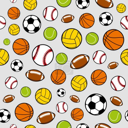 Vector Sports Balls Seamless Background, Sports Equipment, Pattern