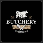 Retro Styled Butcher Shop Logo Meat Label Template with Farm Animals Silhouettes and Knives