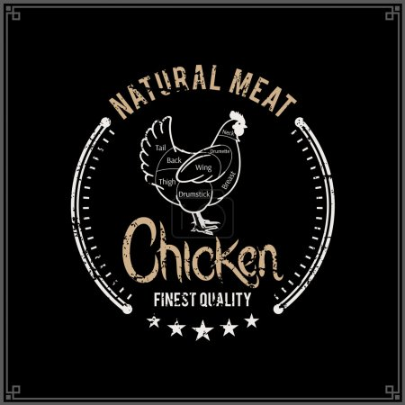 Retro Styled Butcher Shop Logo, Meat Label Template, Chicken Cuts Diagram