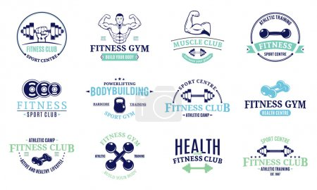 Fitness gym labels templates, badges, fitness equipment icons and design elements