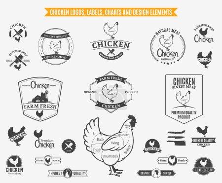 Illustration pour Beaucoup d'éléments vectoriels de conception de poulet pour votre travail . - image libre de droit