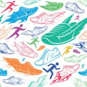 Sport Shoes Running Man Background Seamles Pattern Sport Icons