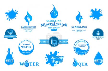 Illustration for Set of water labels, badges, design-elements and abstract water icons. - Royalty Free Image