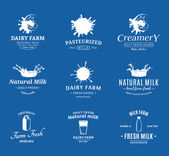 Set of Vector Milk Logos, Labels and Design Elements