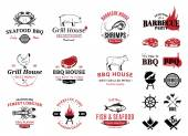 Barbecue Seafood Logos Labels and Design Elements