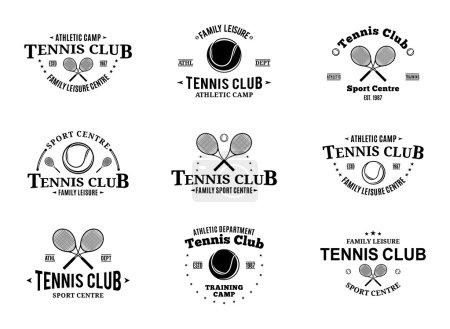 Illustration pour Logo, étiquettes, icônes et éléments de design du club de tennis - image libre de droit
