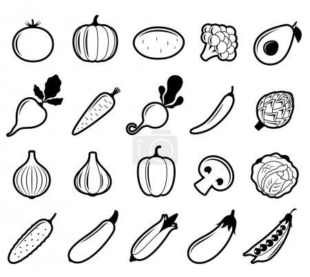Vector Black and White Vegetables Icons