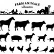 Vector farm animals silhouettes isolated on white....