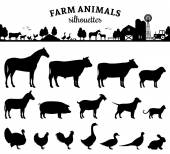 Vector farm animals silhouettes isolated on white Livestock and poultry icons Rural landscape with trees plants farm animals and farm