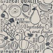 Typographic vector fruits and vegetables retro styled seamless p