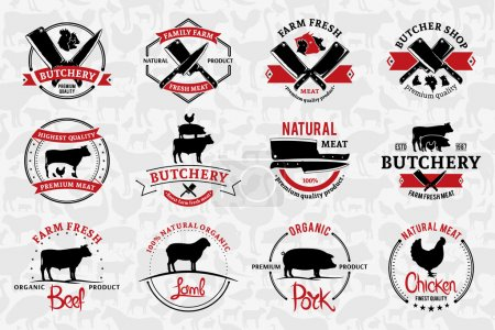 Butchery Logos, Labels, and Design Elements. Farm Animals Silhouettes and Icons