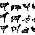 Set of butchery logo templates. Farm animals with ...