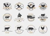 Butchery Logos Labels and Design Elements Farm Animals Silhouettes and Icons
