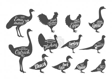 Poultry Silhouettes Collection, Butchery Labels Templates