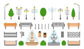 Vector City Street Park and Outdoor Elements Icons Set