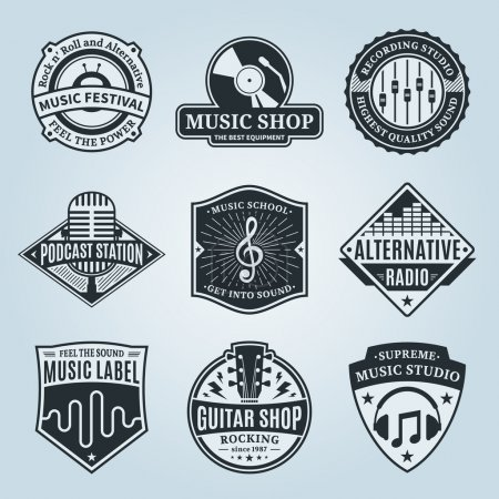 Set of vector music logo. Music studio, festival, radio, school and shop labels with sample text. Music icons for audio store, recording studio label, podcast and radio station, branding and identity.