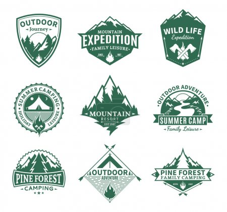Set of camping and outdoor activity labels