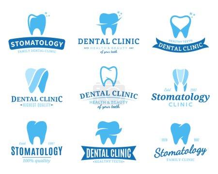 Illustration pour Ensemble de modèles de logo de clinique dentaire. Étiquettes dentaires avec exemple de texte. Icônes dentaires pour stomatologie, dentiste et cliniques de soins dentaires. Conception de logotype vectoriel . - image libre de droit