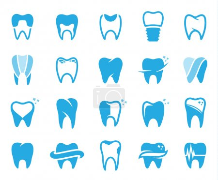 Vector tooth icons symbols and