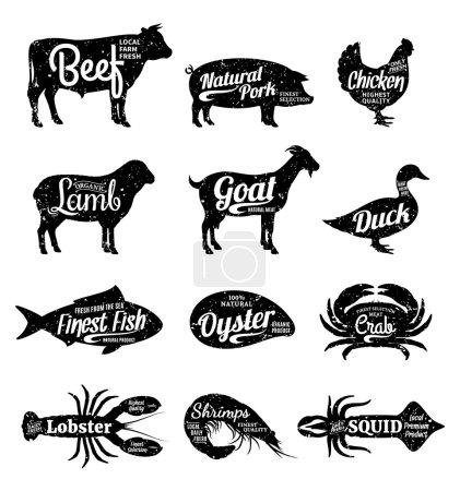 Set of butchery and seafood logo. Farm animals and...