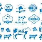 Vector milk logo. Milk design elements, farm anima...