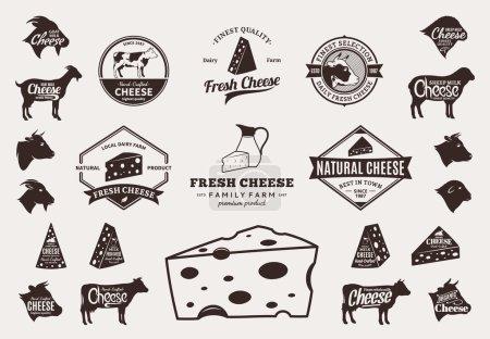 Illustration pour Ensemble de logo fromage. Étiquettes de fromage avec exemple de texte. Icônes de fromage et éléments de design pour les épiceries, les magasins d'agriculture, l'emballage et la publicité. Icônes animaux de ferme . - image libre de droit