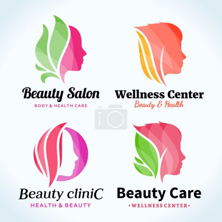 Illustration for Set of beauty salon logo. Beauty salon or hair salon branding identity. Beauty female face icons for beauty clinic, cosmetics or spa. Cosmetic salon logo design - Royalty Free Image