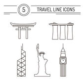 Set of line travel icons Modern vector symbols of famous sightseeings including Big Ben Statue of Liberty Marina Bay Sands Japan Arch and Bank of China Tower located in Hong Kong