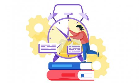 The fleeting time before the exam. Student is trying to stop the time. Rush before the test