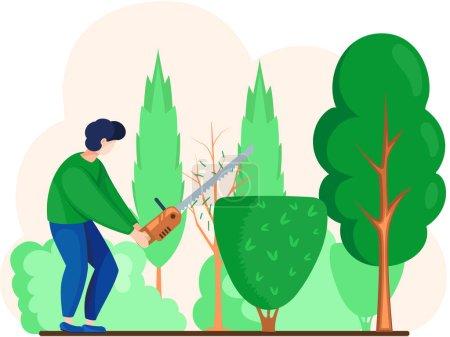 Photo pour Jardinier travaille dans le jardinier dessinateur avec travailleur agricole scie. Aménageur personnage masculin coupe ou coupe arbre vert et arbuste avec des ciseaux pour le jardinage et l'aménagement paysager professions design - image libre de droit