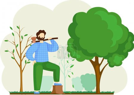 Illustration pour Homme bûcheron avec hache dans la forêt, jardinier dans la cour. Bearded mâle caractère bûcheron travaille à couper les arbres pour le bois et les rondins. Grands arbres verts dans le jardin et souche, jardinage - image libre de droit