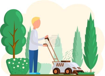 Illustration pour Jardinier travaillant sur le jardin et tondre la pelouse avec une tondeuse électrique. Homme bricoleur coupe herbe dans le jardin. Illustration vectorielle de dessin animé plat coloré de travailleur professionnel prend soin de la beauté du jardin - image libre de droit