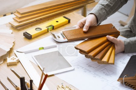 Interior designer choosing a baseboard