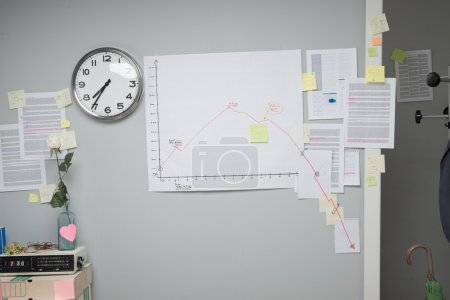 Photo for Business failure chart on office wall with paperwork and stick notes. - Royalty Free Image
