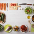 Healthy eating concept with fresh vegetables and s...