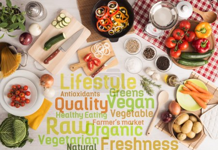 Photo for Creative vegetarian cooking with food ingredients, fresh vegetables, kitchen utensils and text concepts - Royalty Free Image