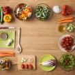 Creative vegetarian cooking at home concept with f...