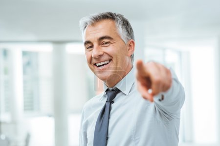 Photo for Cheerful confident businessman pointing at camera, recruitment and choice concept - Royalty Free Image