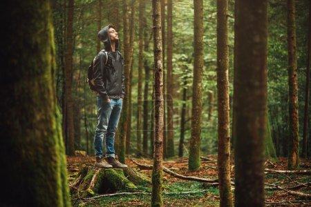 Photo pour Jeune homme à capuche debout dans la forêt et explorer, concept de liberté et de nature - image libre de droit