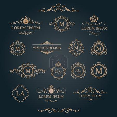 Illustration for Elegant floral monograms and decorative elements. Design templates for invitations, menus, labels. Wedding monograms. Monogram identity for restaurant, hotel, heraldic, jewelry. - Royalty Free Image