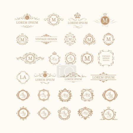 Illustration for Set of elegant floral monograms and borders. Design templates for invitations, menus, labels. Wedding monograms. Monogram identity for restaurant, hotel, heraldic, jewelry. - Royalty Free Image