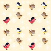 Seamless pattern with small funny birds on beige background