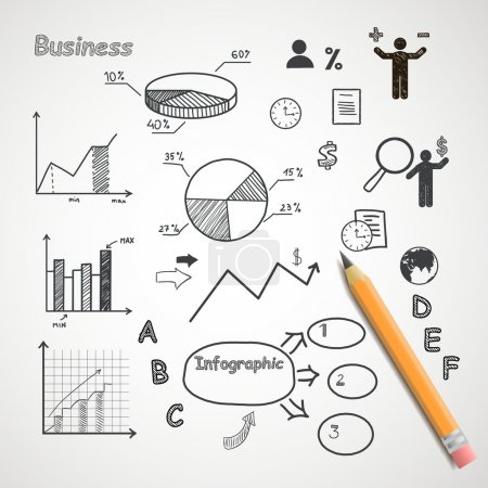 Illustration for Business and freelance hand drawn infographic elements with orange pencil - Royalty Free Image