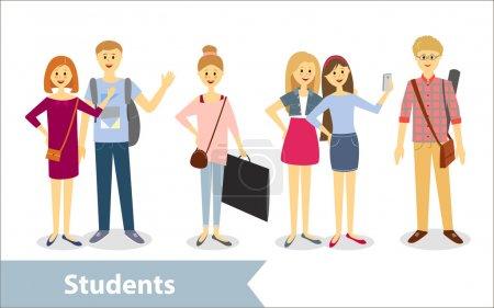 Illustration pour Des étudiants. Caractères vectoriels dans le style de dessin animé - image libre de droit