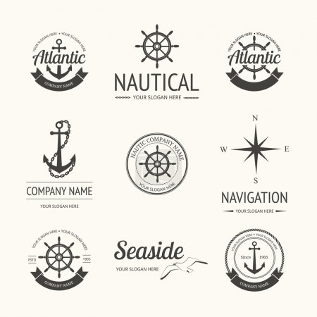 Set of retro nautical labels