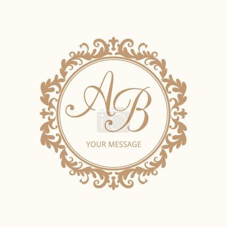 Illustration for Elegant floral monogram design template for one or two letters . Wedding monogram. Calligraphic elegant ornament. Vector illustration. - Royalty Free Image