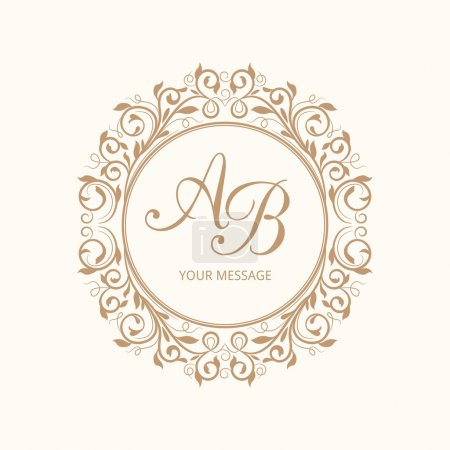 Illustration for Elegant floral monogram design template for one or two letters . Wedding monogram. Calligraphic elegant ornament. Vector illustration. - Royalty Free Image