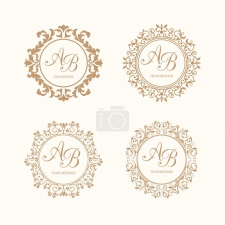 Illustration for Set of elegant floral monogram design templates for one or two letters . Wedding monogram. Calligraphic elegant ornament. Business sign, monogram identity for restaurant, boutique, cafe, hotel, heraldic, jewelry. - Royalty Free Image